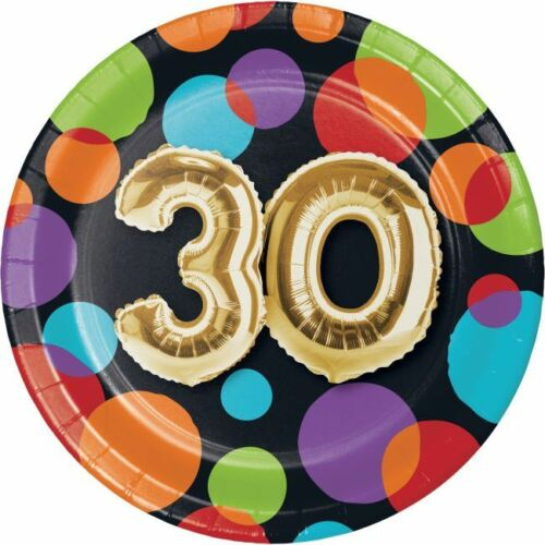 Gold Balloon 30th Birthday 7 Inch Paper Plates 30 Birthday Party Decoration