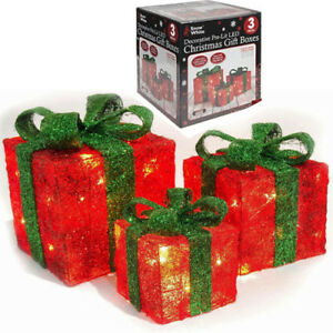 Details About Set Of 3 Light Up Gift Boxes Presents Christmas Glitter Led Indoor Decoration