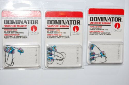 3 packs vmc dominator smoochin/' minnow jigs 1//16oz blue shiner jighead w//keeper