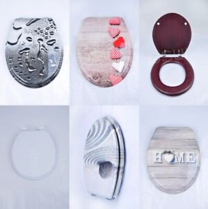 Novedad Diseños impresión Asiento de inodoro MDF Asiento WC Loo bisagras fuertes De Plata W Montaje