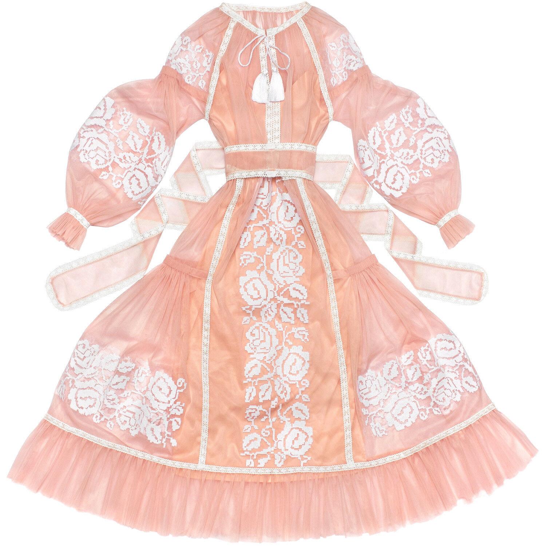 Embroidered light pink dress boho -ukrainian vyshyvanka  pink Dreams . All sizes