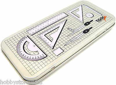Maths Set Geometry Set 9pcs Metal Pencil Case Tin Compass Set School College New