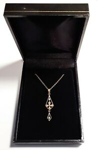 Lovely-Antique-Victorian-14k-Gold-Seed-Pearls-Lavaliere-Drop-Necklace-In-Box