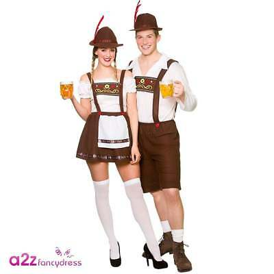 Adult Bavarian Beer Guy Maid Mens Womens Oktoberfest German Fancy Dress Costume