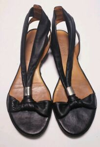 COCLICO-Women-039-s-Black-Leather-Sandals-Size-6-EURO-36