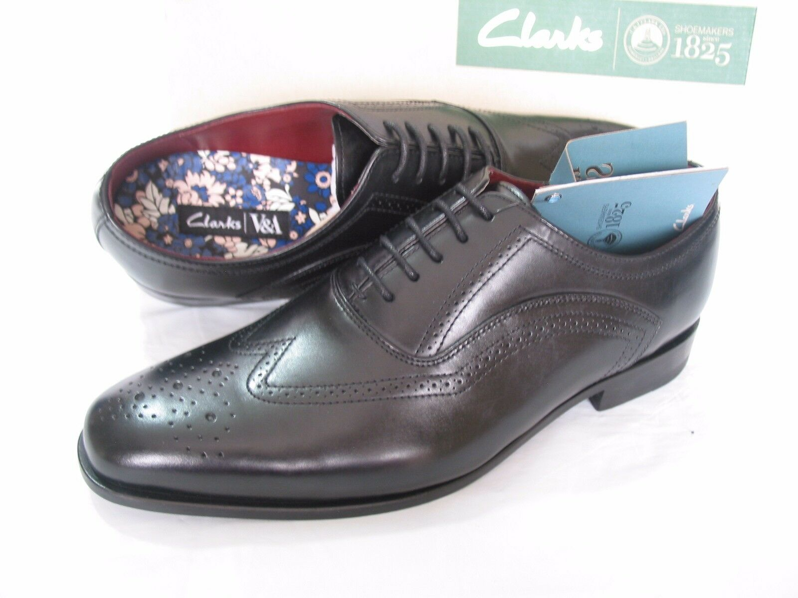 NEW CLARKS V&A BROGUE SWIXTY LIMIT SHINY LEATHER BROGUE V&A SHOES SIZE 7.5 f35737