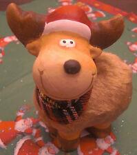 Weihnachten Rentier Elch Fell Stoffschal 10x10 cm Kopf links Keramik Deko Neu
