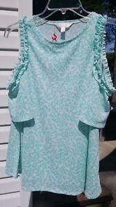LC-Lauren-Conrad-White-Sea-Green-Coral-Textured-Cold-Shoulder-Top-Size-Small