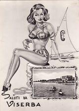 * VISERBA - Panorama con Donna e Barca a Vela - Ill.Arfelli