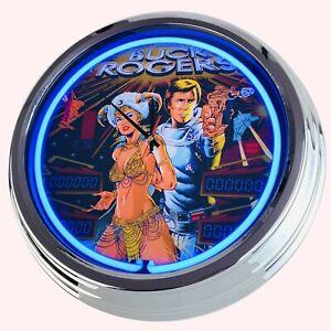 N-0709-Reloj-de-Pared-034-Pinball-Buck-Rogers-Gottlieb-1980-034-Neonuhr-Cocina-Salon