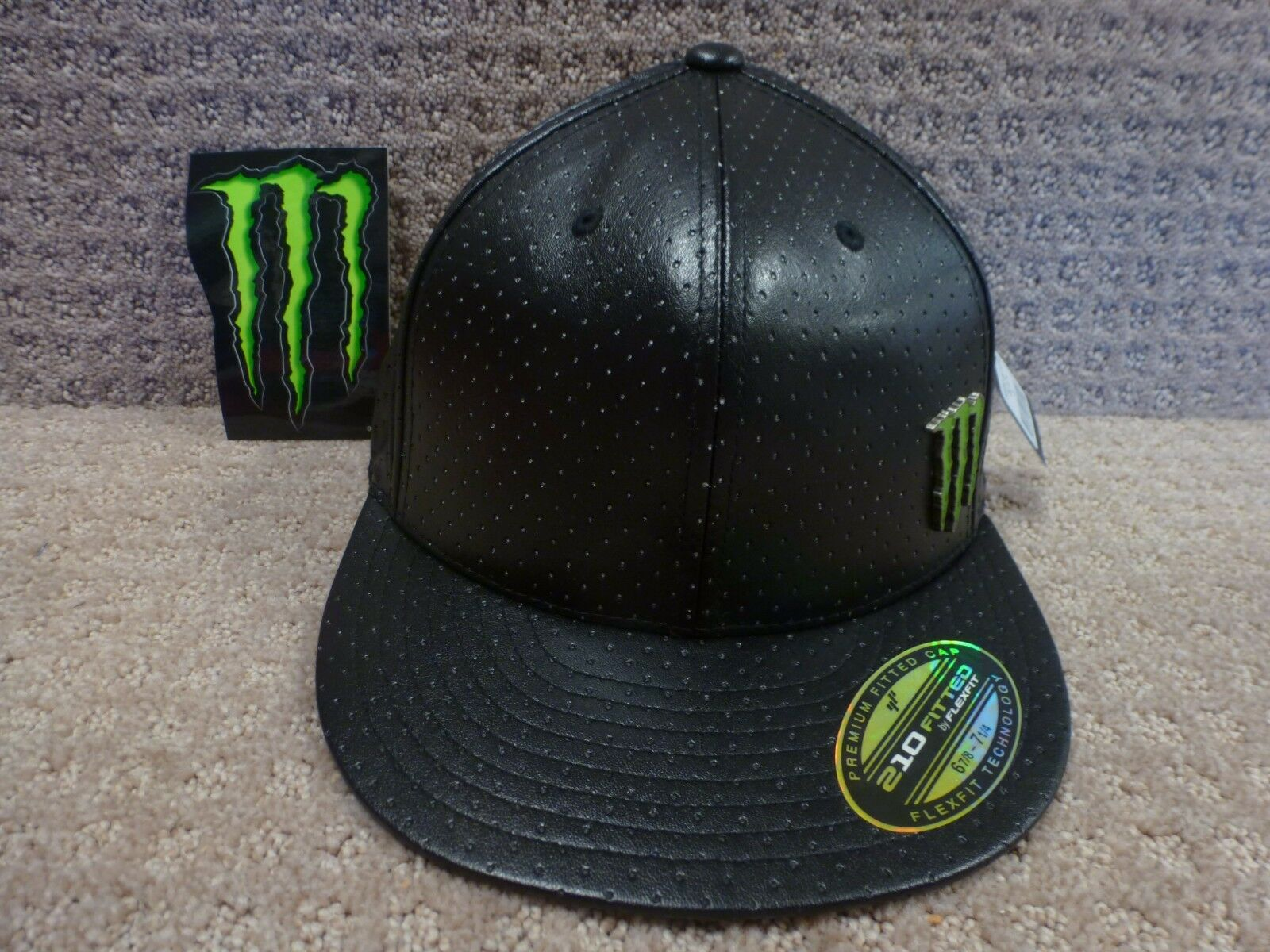 One Industries Fit Monster Energy Men's Flex Fit Industries Hat -- Black + Free Sticker 0609d6