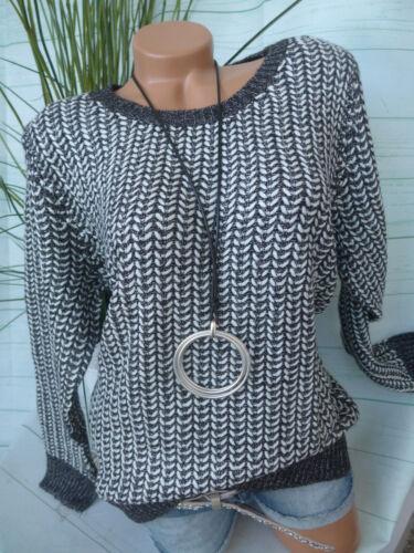 36 bis 54 schwarz weiß meliert Dress in Pulli Pullover Gr 068