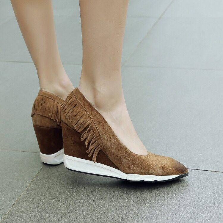 femmes Vogue Suede Leather Pointed Toe Tassel Wedge Heel Pump Court chaussures qceg