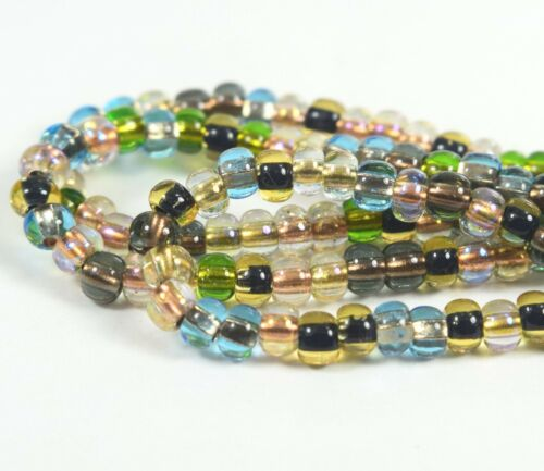 """Czech Glass Seed Beads Size 6//0 /"""" MIX COPPER LINED EARTH TONE /"""" Strands"""