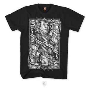 OG-Abel-Ogabel-Cash-is-King-Benjamin-Franklin-Money-Cards-Tattoos-T-Shirt-A0460