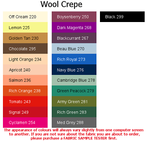 New Colours 100/% Wool Crepe 4x5cm sample colour testers /& per metre purchasing