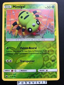 Carte-Pokemon-MIMIGAL-5-168-REVERSE-Soleil-et-Lune-7-SL7-FR-NEUF