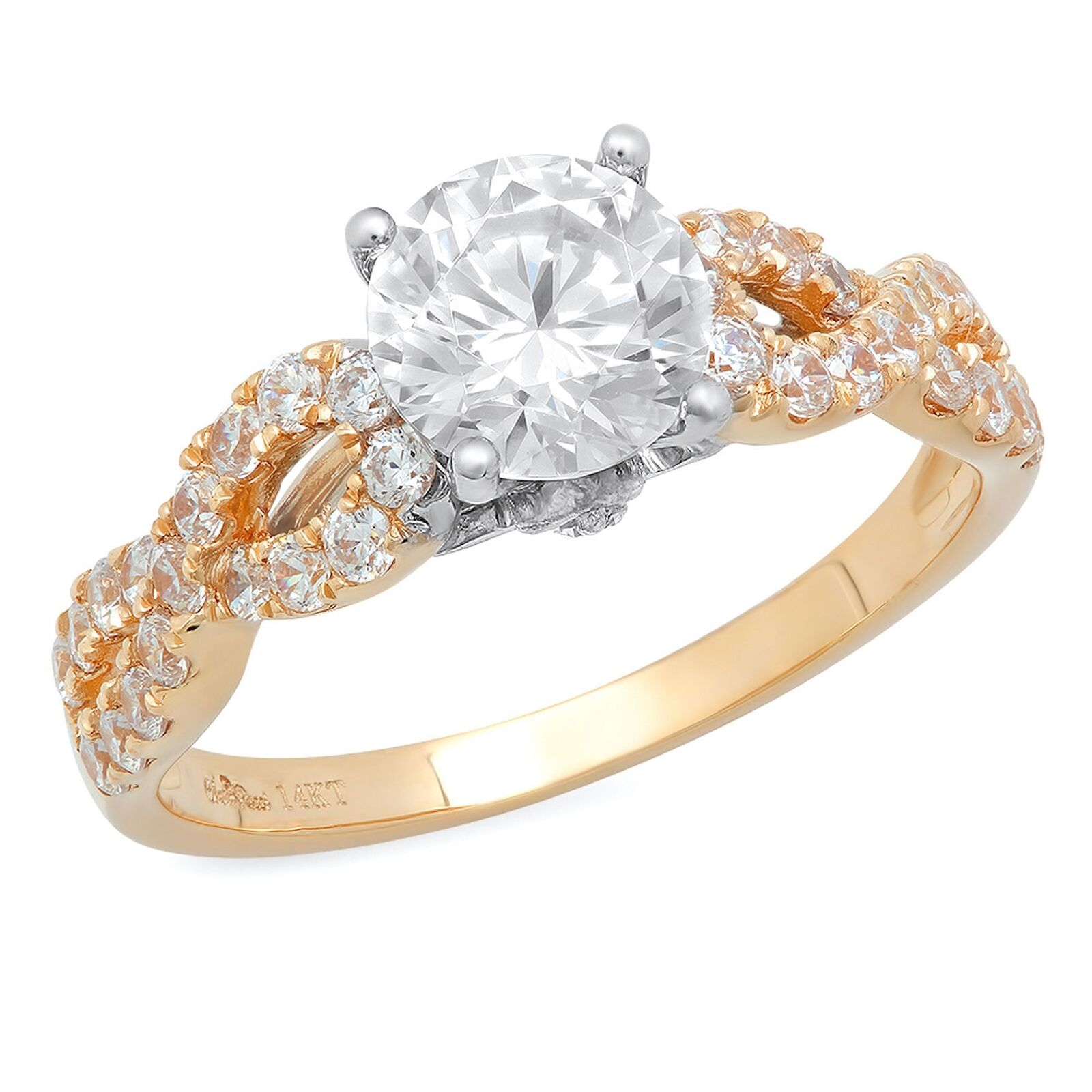 1.35ct Round Cut Classic Solitaire Engagement Promise Ring 14k Two-Tone gold
