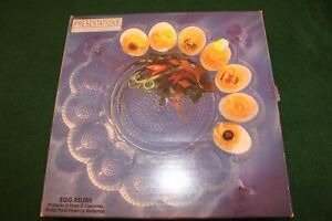Indiana-Glass-Clear-Glass-Egg-Relish-hors-D-039-Oeuvres-Platter-11-034-Diameter
