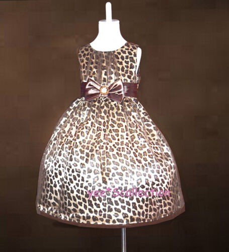 New High Fashion Gold Brown Leopard Pattern Pageant Party Formal Dress Age 1-9y