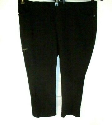Denim /& Co Active Pull-On Knit Ankle Pants Black 1X NEW A303558