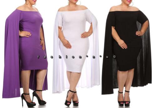 Plus Size Off Shoulder Cape Bodycon Midi Maxi Dress