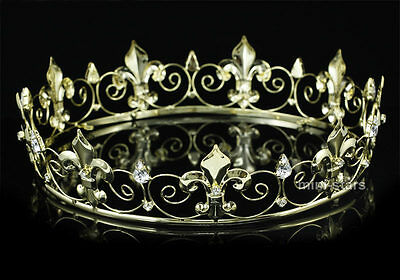 Men Tiara Imperial Full Circle Gold King Crown Costume Pageant Party Prom T1747