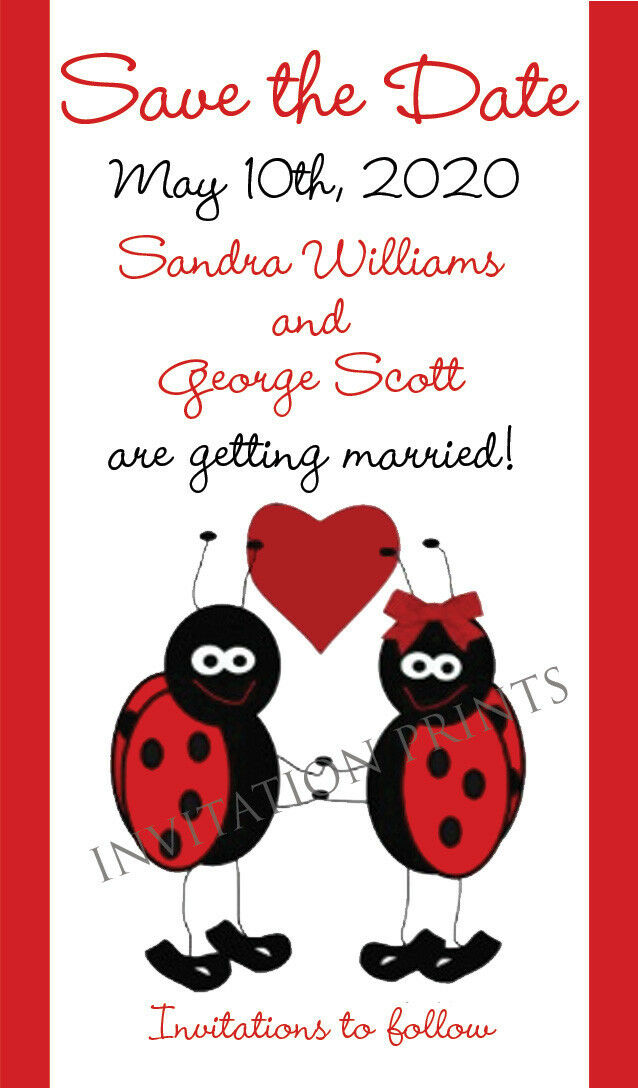 Save the Date Wedding Invitation Magnets Lady Bug Theme