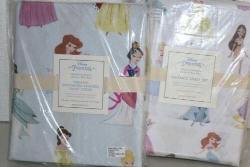 NEW Pottery Barn Kids Disney Princess ORGANIC SHEET SET DUVET  Twin Full Queen