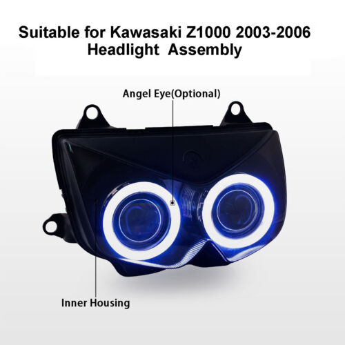 KT Headlight Assembly for Kawasaki Z1000 2003-2006 Angel Halo Eye HID Projector