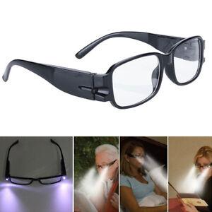 Black-Unisex-Rimmed-Reading-Eye-Glasses-Eyeglasses-Spectacle-With-LED-Light-Gift