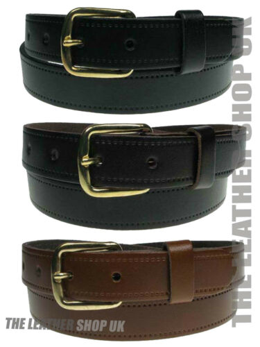 """New Full Mens Real Leather 1/"""" Inch Sizes Small To 3XL Jeans Trouser Strong Belt"""