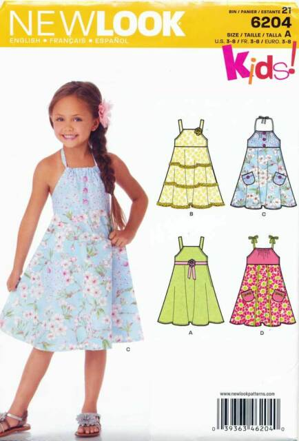 LOOK Sewing Pattern 6204 Girls Sz 3-8 Flared Dress W/ Halter Neck or ...