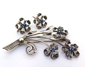 Beautiful-Vintage-Sterling-Silver-amp-Simulated-Sapphire-Brooch-Clip-on-Earrings