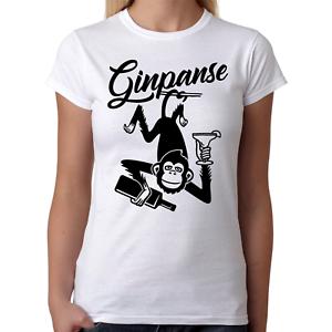GINPANSE-Schimpanse-Chimp-Monkey-Gin-Drink-Party-Spass-Comedy-Fun-Damen-T-Shirt