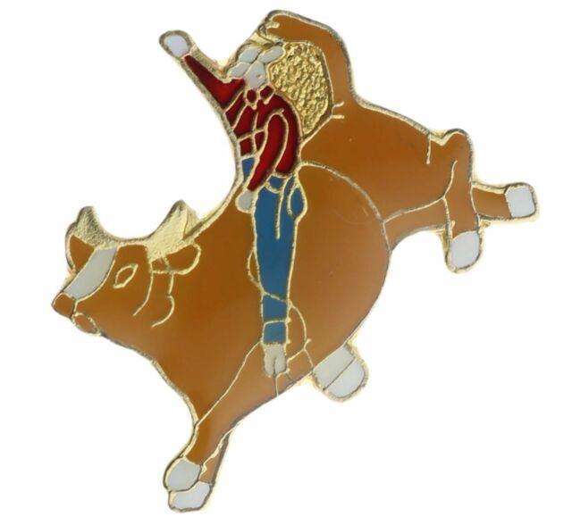 vintage rodeo pin collectible old bull riding cowboy pinback Western memorabilia