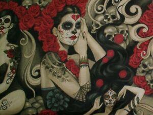Alexander-Henry-Las-Elegantes-Pin-ups-amp-Skulls-Dk-Smoke-Cotton-Fabric-BTY