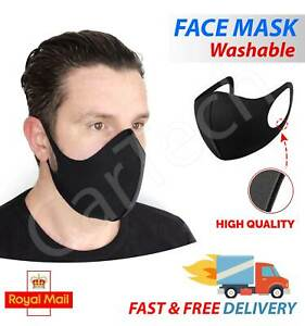 Anti Virus Face Mask Reusable Washable Protective Cover Black Fabric Ebay
