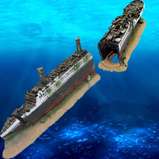 Aquarium Decorations Titanic Boat Ship Wreck Fish Tank Cave Ornament Xmas Gifts