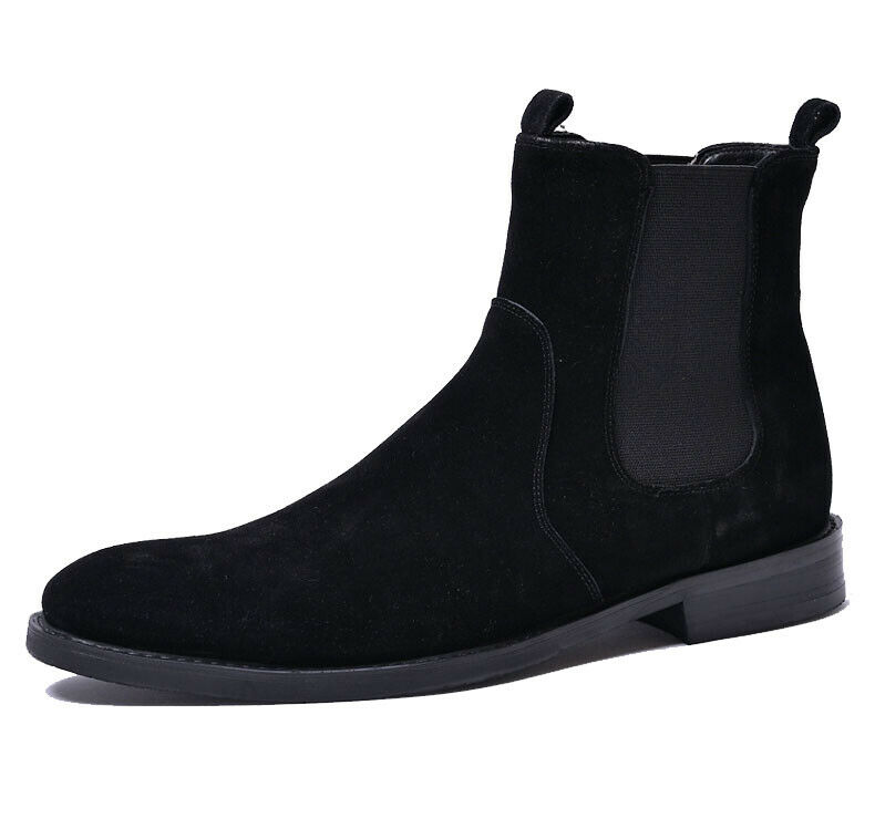 New Mens Genuine Leather Chelsea Boots Nubuck Leather Slip On Shoes Black