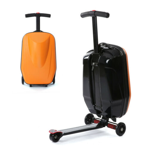 """20/"""" Suitcase Scooter Travel Carry Luggage Handbag Wheeled Case with Skateboard"""