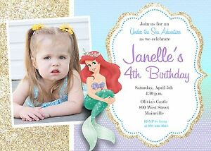 Image Is Loading Little Mermaid Princess Ariel Birthday Party Invitation