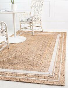 Bohemian-Floor-Mat-Home-Living-Dhurrie-White-Rectangle-Jute-Boho-Area-Rug