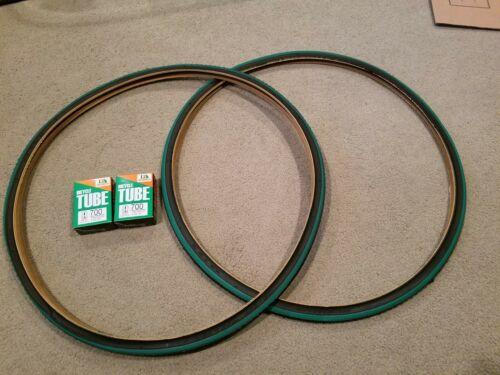 2 Deux Duro 700X25 C Vélo Pneus Fixie Track Urban Noir N GREEN /& tubes 2