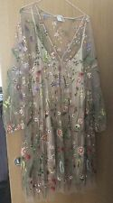 H&M FLORAL EMBROIDERED SHEER POWDER BEIGE DRESS SIZE M/L NET MESH FLOWER
