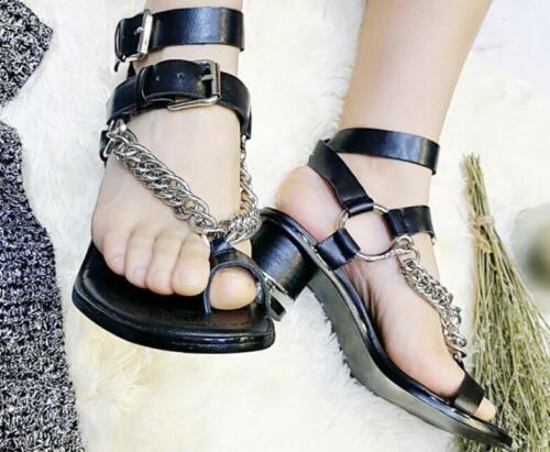 Roman pour femme en cuir chaîne en métal Toe Ring Chaussures Punk Creux élégante nouvelle Sandales