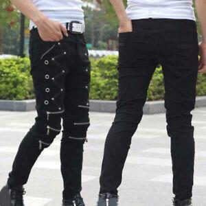 Fashion Men New Zip Hip Hop Street Punk Leisure Pants Motorcycle Gothic Trouser