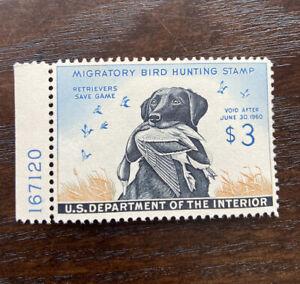 #RW26 1959 - US Federal Duck Stamp - Unsigned, plate number OG light hinge