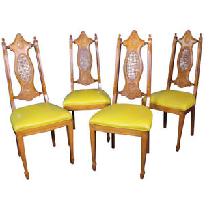 Miraculous Details About Mid Century Set 4 Four Carved Cane Chairs Side Dining Vintage Antique Modern Theyellowbook Wood Chair Design Ideas Theyellowbookinfo
