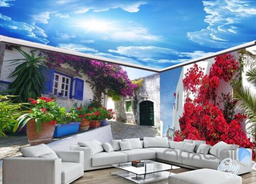 Greek Street landscape Flowers entire room 3D wallpaper wall mural decals